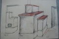 durchgebauter gemauerter Ofen, keramische Deckel, Bleistiftskizze Raumteiler