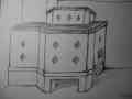 Bleistiftskizze gemauerter Ofen mit Rauten aus Glas